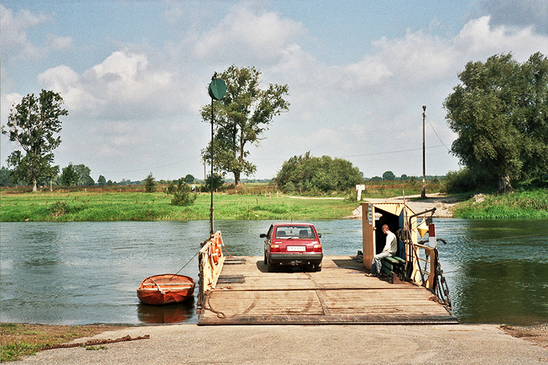 The ferry across Warta river in Sławsko near Konin